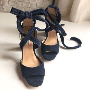 NIB Karl Lagerfeld blue suede shoes